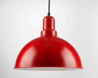 Retro Ceiling Pendant With Big Rounded Shade | Red | Retro | Loft | Industrial | Minimalist | Lamp