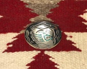 Vintage Navajo Turquoise Chip Inlay Bear Claw Design Sterling Silver Belt Buckle