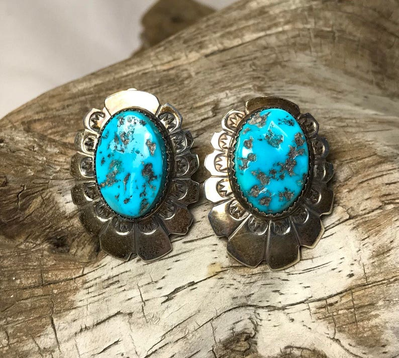 Vintage Navajo Southwest Turquoise and Sterling Silver Clip-On Earrings