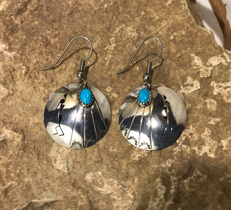 Native American Turquoise and Sterling Silver Kokopelli Design Earrings