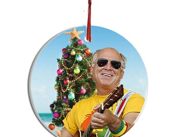 jimmy buffett collectible christmas ornament 2 wgift box image on both sides of ceramic disk holiday office birthday gift parrot head