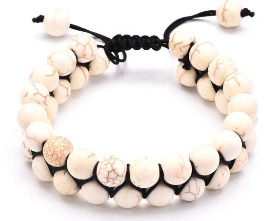 Double Layers Adjustable, 8mm Natural Lava Stone, White, Energy Bracelets, Bangle Healing, with Silk Gift Bag