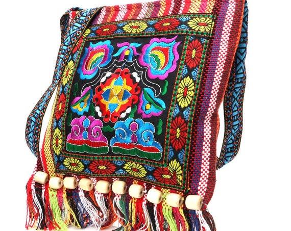 Shoulder Bag, Embroidery Boho Bag, Hippie Tassel Tote, Messenger Bag, Notebook Bag, School Bag