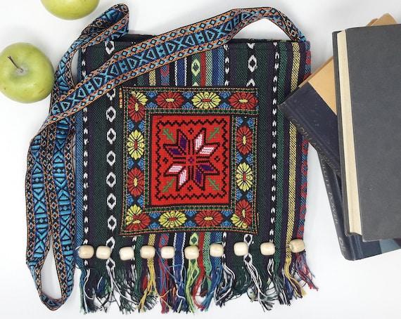 Shoulder Bag, Embroidery Boho, Hippie Tassel Tote, Messenger Bag