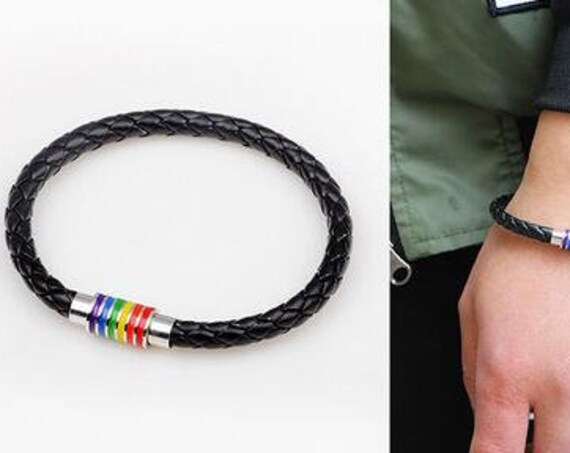 Rainbow, Jewelry Charm, Leather Bracelet, Stainless Steel Accessories, Pride Bracelet, Choice of Brown or Black, 1 each., includes BoHo Bag