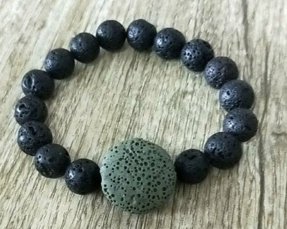 Dark Blue Round Lava Stone, Essential Oil Diffuser Bracelet, 10mm Volcanic, Aromatherapy, Jewelry Rock, includes BoHo Bag
