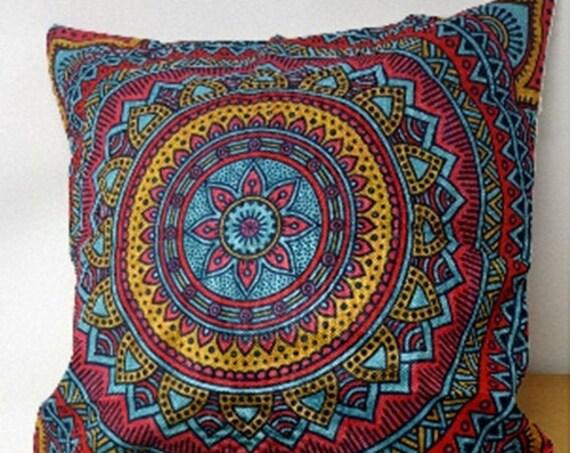 Hippie Mandala, Boho Rainbow, Floral Pattern Sofa, Throw Pillow Case, Sun Moon Flowers Colorful, Dream Fantasy, Cushion Cover