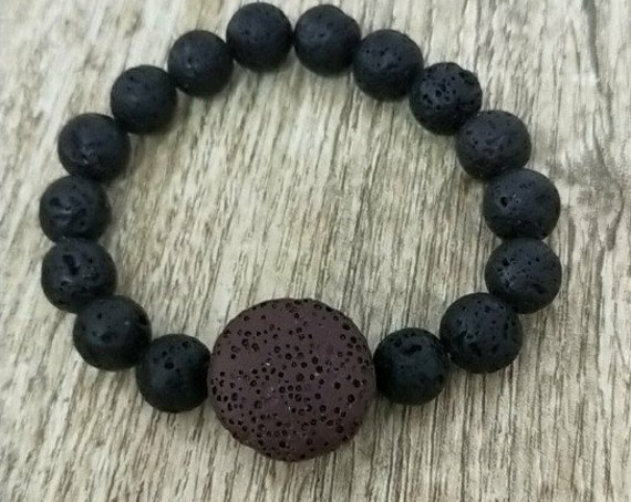Brown Round Lava Stone, Essential Oil Diffuser Bracelet, 10mm Volcanic Aromatherapy Jewelry Rock, includes BoHo Bag