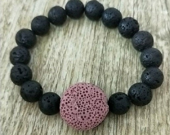Rose Red Round Lava Stone, Essential Oil Diffuser Bracelet, 10mm Volcanic Aromatherapy Jewelry Rock, includes BoHo Bag