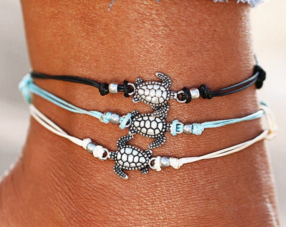 Boho Multilayer, Turtle Shell Beads Anklets, Beach Rope, Ankle Bracelet, includes Cotton Drawstring Bag