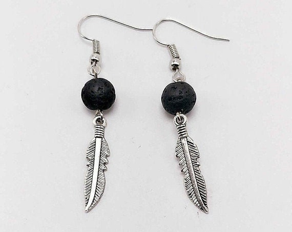Feather Charm, Aromatherapy Earrings, Black Lava Bead, DIY Essential Oil, Diffuser Earrings