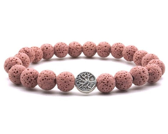 Silver Tree of Life, 8mm, Colourful Light Pink, Lava Stone Beads, DIY Aroma Essential Oil, Diffuser Bracelet, Yoga, Strand Jewelry