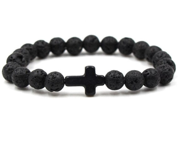 Natural Stone Cross Bracelet, 8mm Black Lava Beads, DIY Aromatherapy, Essential Oil Diffuser Bracelet, Stretch Strand, Includes Boho Bag