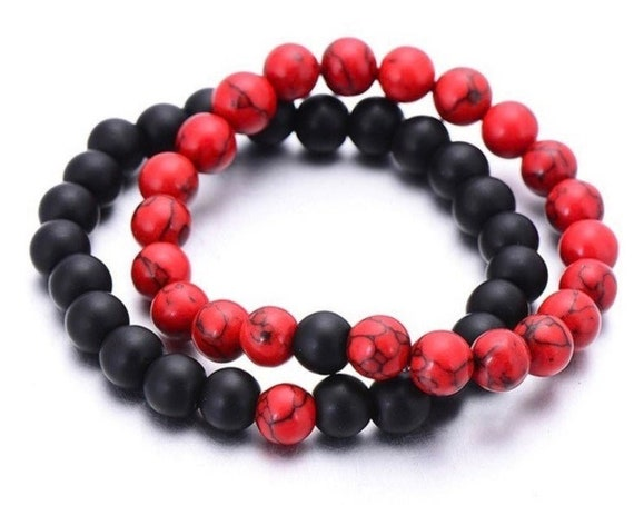 2PC 8mm Black and Red Stone Beads, Bracelet, Colorful Kallaite Stone Beads, Bracelet Set,Yoga, Buddha, Stretch Jewelry