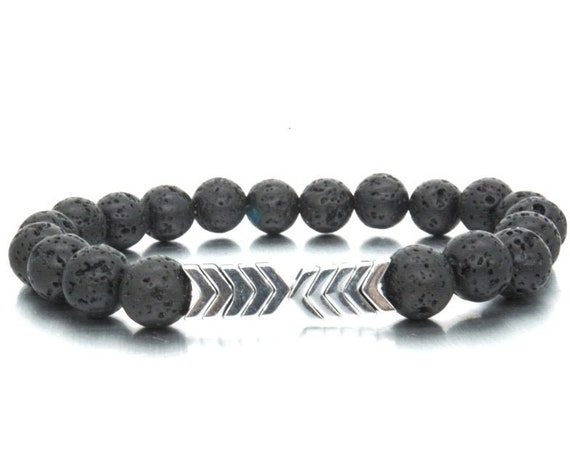Volcanic Lava Stone, Essential Oil Diffuser Bracelets, Bangle, Healing Balance, Yoga, Arrow Beads