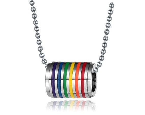 Multicolor Pride Jewelry ,Stainless Steel, Rainbow, Pendant Necklace, Charm Jewelry, Includes Silk Bag