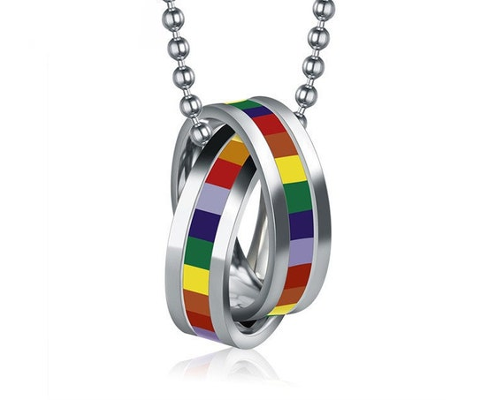 Rainbow Necklaces & Ring Pendants, Stainless Steel, Rainbow Pride, Necklace, Includes Silk Bag