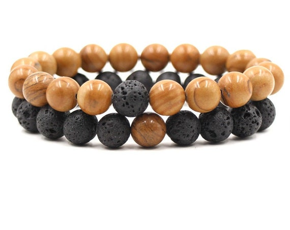 8mm Tan Porcelain Stones, Black Lava Beads, DIY Aromatherapy, Essential Oil Diffuser