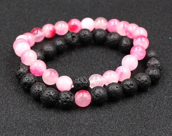 2pcs 8mm, Black Lava Stone Beads, Essential Oil Perfume Diffuser, Bracelet, Colorful Stone, Beads Bracelet w/Gift Bag Stretch Jewelry