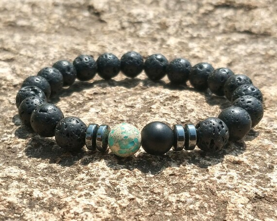 Green Chakras Stone, 8mm Black Lava Beads, DIY Aromatherapy, Essential Oil Diffuser Bracelet, Stretch Yoga Jewelry