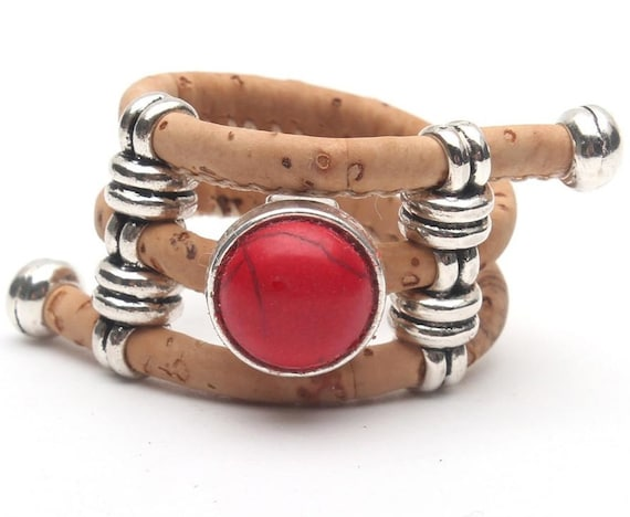 Portuguese Cork Ring with Red Stone Natural Wood Band, Adjustable for any Size