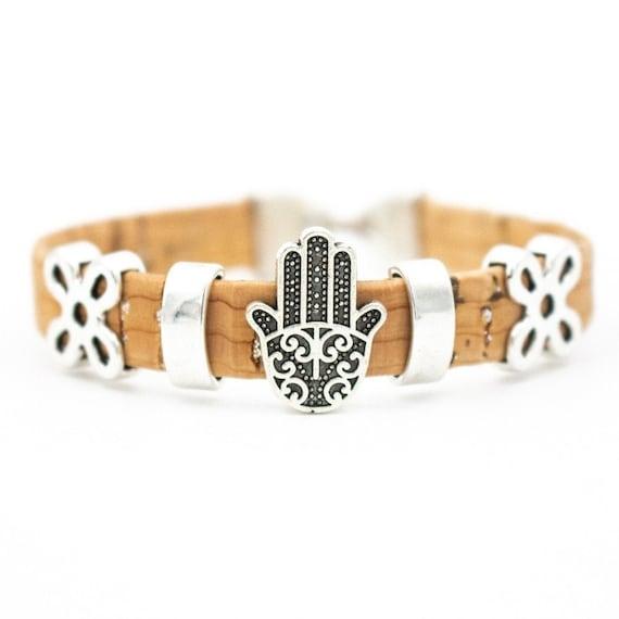Bracelet, Portuguese Cork, Hamsa Hand, 17cm, cork bracelet,vintage design, handmade cork, wood jewelry, with natural material