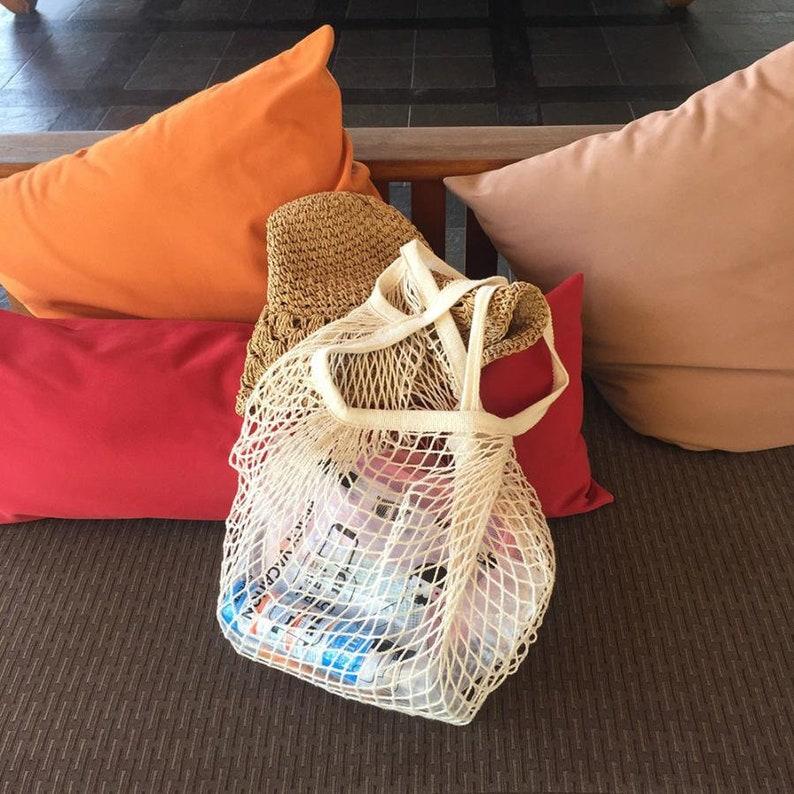 Cotton Tote Mesh Woven Net Reusable Fruit Vegetable Shopping Bag Casual String Grocery Shopper