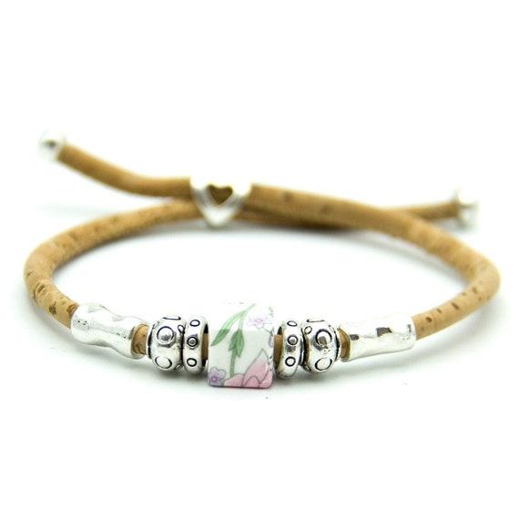 Bracelet, Portuguese Ceramic, Colorful Beads, Natural Cork, Handmade, Vegan Jewelry, Adjustable