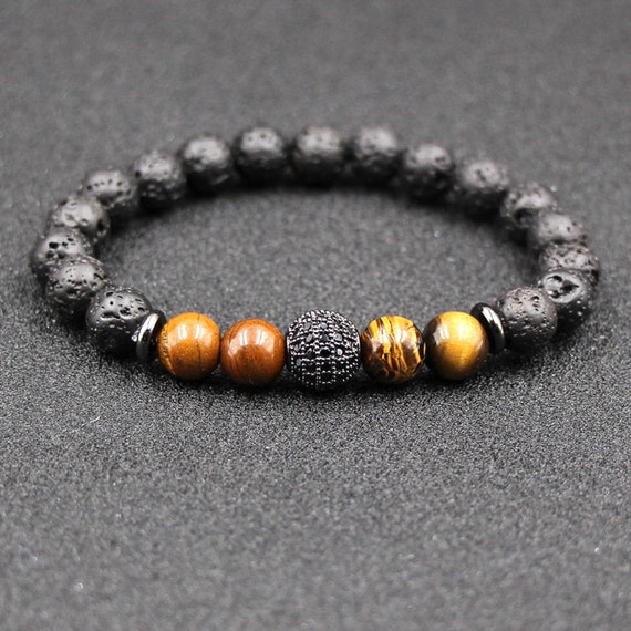 Crystal Ball Charms Bracelets, Tiger Eye, Black Lava Stone Beads, DIY Aromatherapy, Essential Oil Perfume Diffuser, Pulsera Bracelet