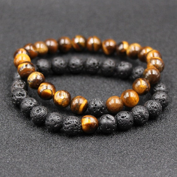 2pcs, 8mm Black Lava Stone Beads, Essential Oil Perfume Diffuser Bracelet, Colorful Stone Beads Bracelet, Stretch Jewelry