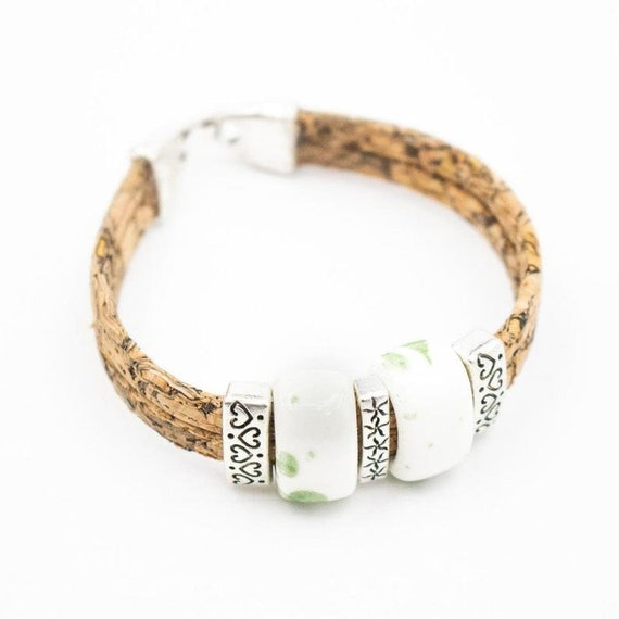 Natural cork bracelet ,with Ceramic beads, women, natural bracelet, original handmade, wood jewelry