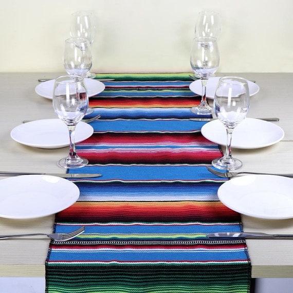 Mexican Serape, Table Runner, Cotton, Table runner,  handmade table runner, Hand woven with tassel