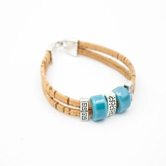 Bracelet, Natural cork , Ceramic beads, handmade cork wood jewelry, Portugal