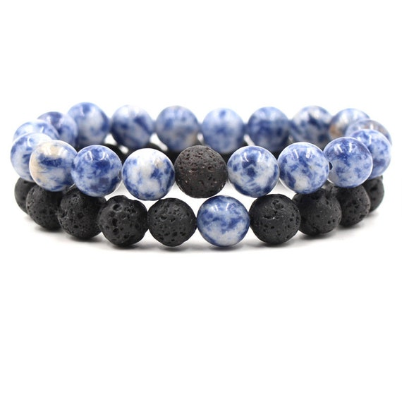 10mm Blue-White, Porcelain Stone, Black Lava Beads, DIY Aromatherapy, Essential Oil Diffuser Bracelet