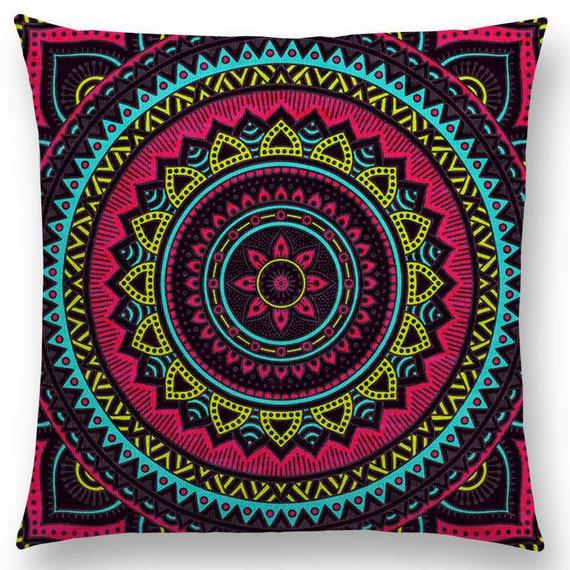 Hippie Mandala, Boho Rainbow, Floral Pattern, Sofa Throw Pillow Case, Sun Moon Flowers, Colorful Dream Fantasy Cushion Cover