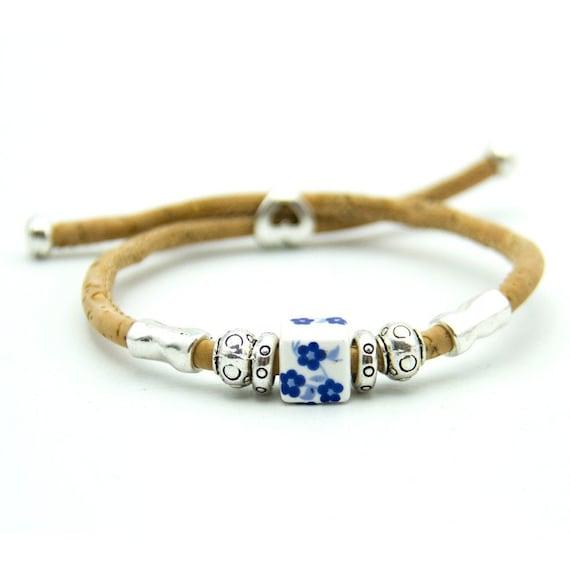 Bracelet, Colorful Portuguese Ceramic Beads, Natural Cork, Handmade, Vegan Jewelry, Adjustable