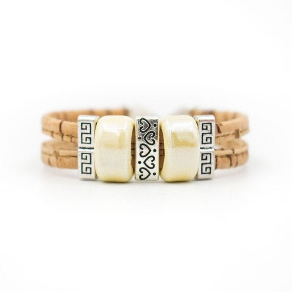 Bracelet, Natural cork, Ceramic beads, handmade cork wood jewelry, Portugal