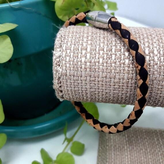 Original Design, Custom Size, Portuguese Natural Braided Cork Bracelet, Magnetic Clasp, Includes Gift Bag