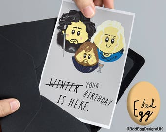 Tyrion birthday card etsy game of thrones birthday card badegg winter is here game of thrones inspired greetings card by bad egg designs uk m4hsunfo