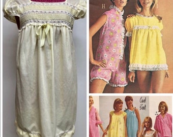 2de42c0113 Vintage Yellow Summer Nightie Mini Nightgown Pajamas
