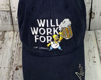 7fa0668e4d7 1990s Homer Simpson Will work for Beer Baseball Cap Hat