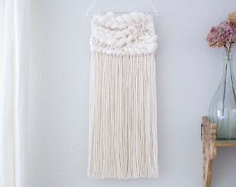 Natural White wall hanging \\ Weave \\ RTS \\ woven wall hanging \ woven wall art \ white nursery decor \ white home decor \ white tapestry