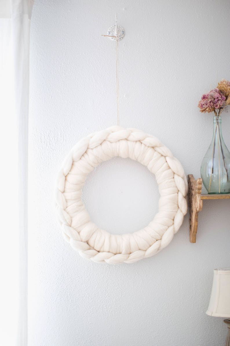 Large white wool wreathwhite holiday wreathwhite wall image 0