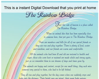 Rainbow Bridge Poem Etsy
