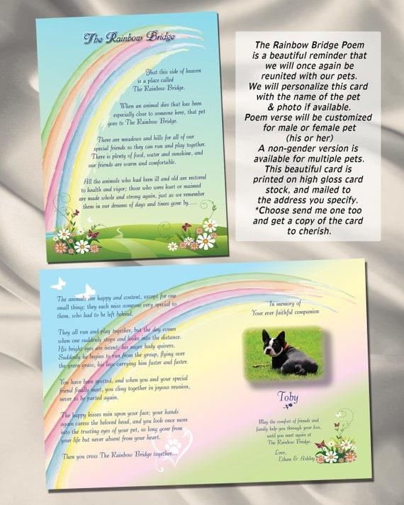 Regenboog Brug Gedicht Card Rainbow Bridge Hond Rainbow Bridge Kat Huisdier Sympathie Card Huisdier Memorial Pet Verlies Huisdier Sympathie