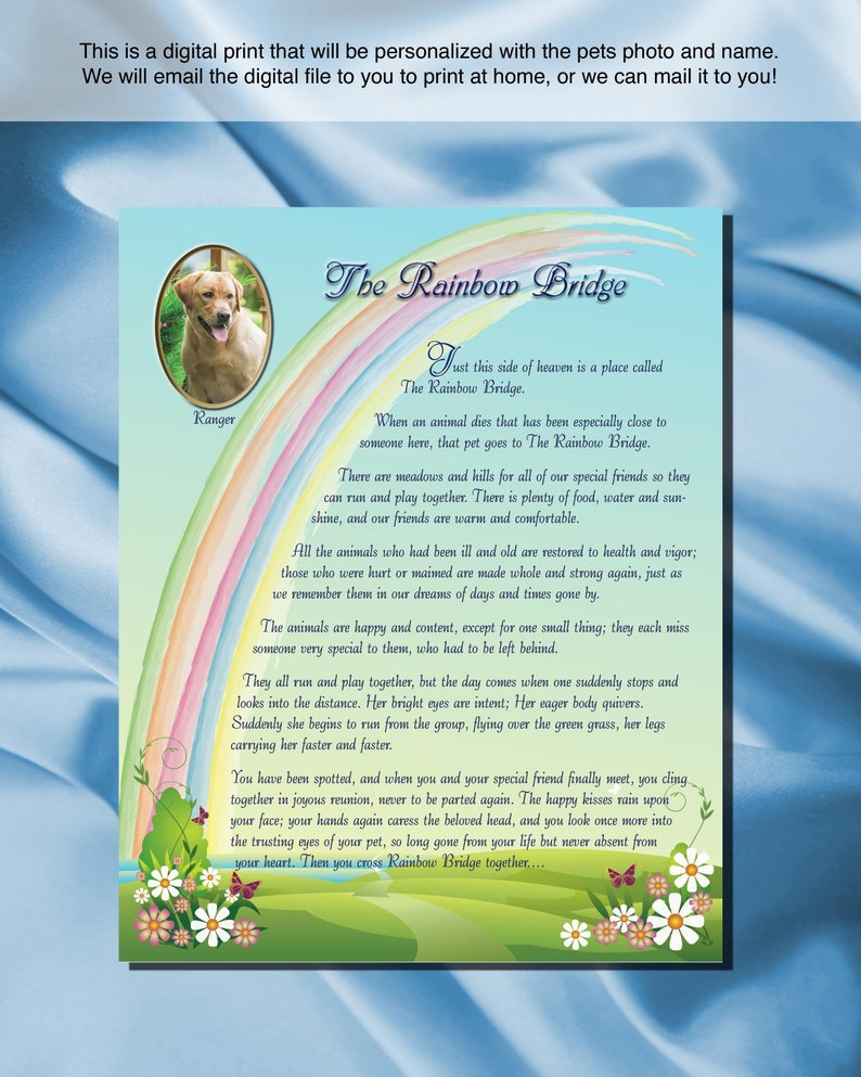 photograph about Poem Rainbow Bridge Printable called Custom made Electronic Down load Rainbow Bridge poem with Image, Rainbow Bridge Electronic Down load, On your own print or we ship, Earlier mentioned the Rainbow US