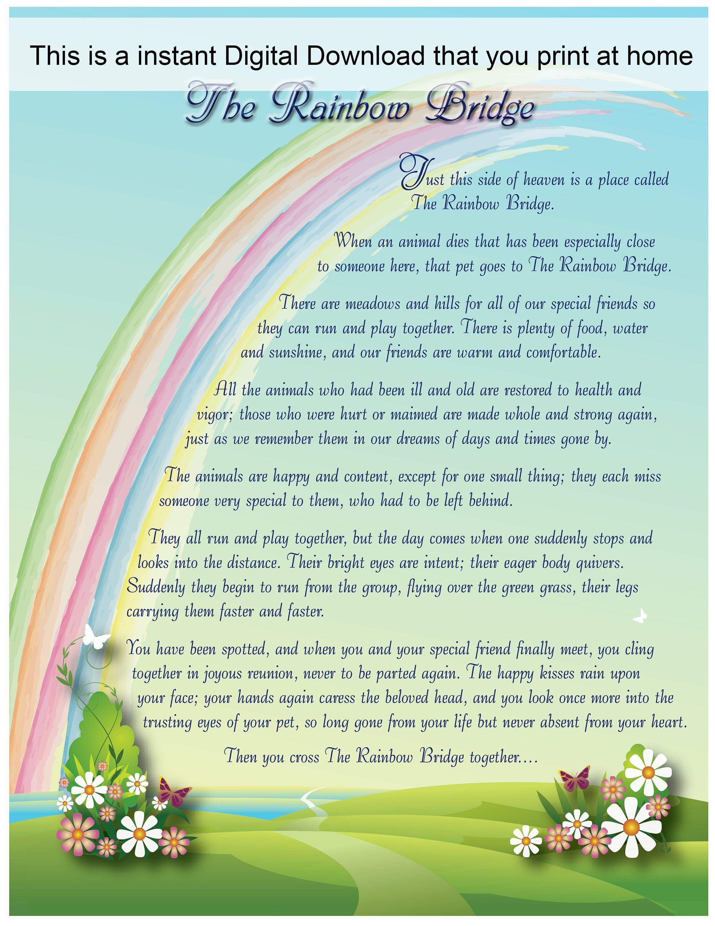 picture about Rainbow Bridge Poem for Dogs Printable titled Rainbow Bridge Electronic Print, Rainbow Bridge Poem, Rainbow Bridge pet dog, Rainbow Bridge cat, Rainbow Bridge reward, Puppy decline,Around the Rainbow US