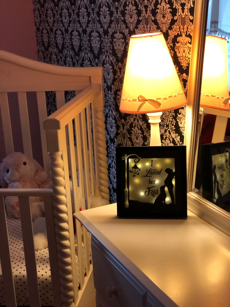 Gift for new mother Baby Shower gift Dog Lover Gift Lighted shadow box Pregnancy gift Lighted Shadow Box