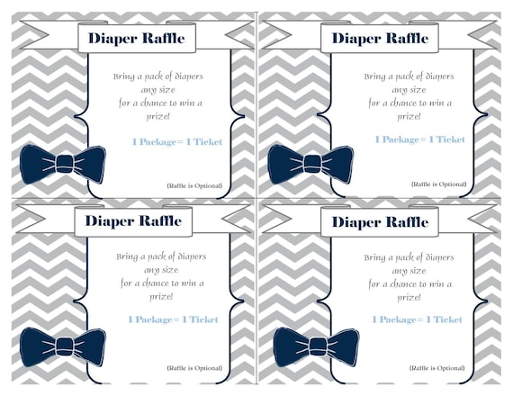 Diaper Raffle Cards Printable Inserts Tickets