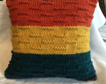 "Knitted pillow « Colors of Yellowstone » 16""x16"""
